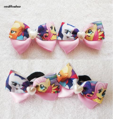 Handmade Pink girl children My Little Pony ribbon bow hair clip bobble headband