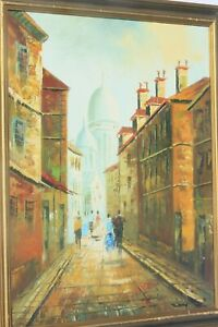 VINTAGE-OIL-PAINTING-ON-BOARD-ANCIENT-STREET-CITY-SCENE-SIGNED-THIERRY