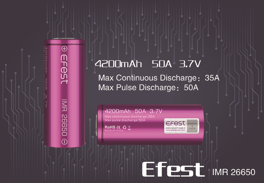 2x Efes IMR 26650 4200mAh 50A lithium HIGH DRAIN CURRENT Rechargeable battery