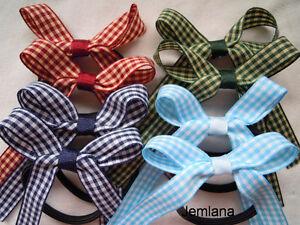 Jemlana-039-s-handmade-school-hair-ties-Check-ribbons-Set-of-2-hair-ties