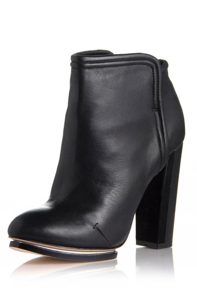 Rachel Roy Ester Bootie Black Slim Seams Boot ankle silver platform Leather NEW