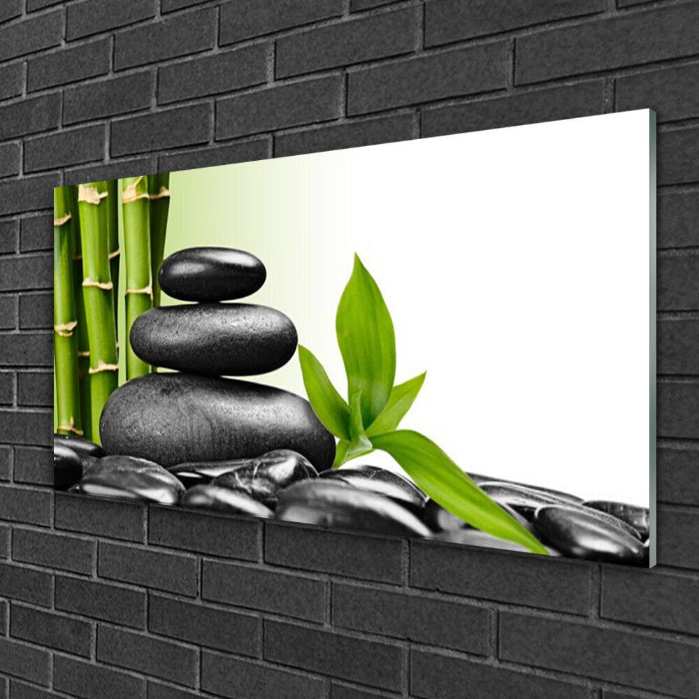 Image sur verre Tableau Impression 100x50 Kunst Bambou Pierres