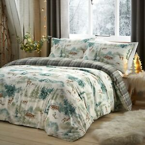 Fusion-SNOW-SCENE-Christmas-Bedding-Winter-Duvet-Cover-Set-Brushed-Cotton-Check