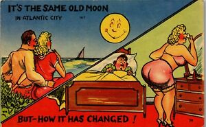 Same-Old-Moon-How-it-has-Changed-Bedroom-1940-039-s-Era-Humor-Vintage-Postcard