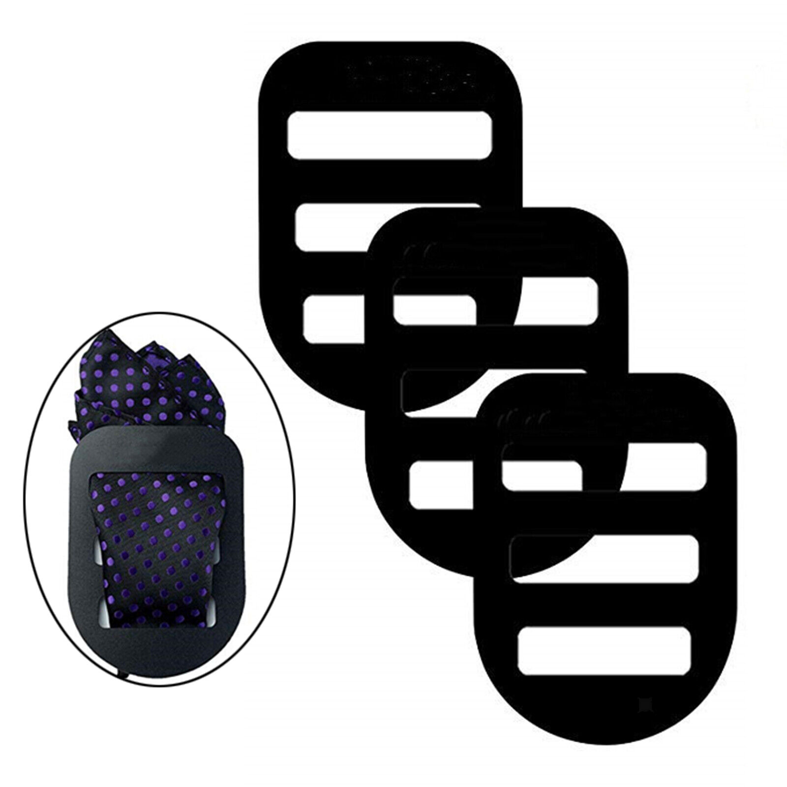 3Pack Pocket Square Holder Keeper Pocket Square Organizer Accessory Black