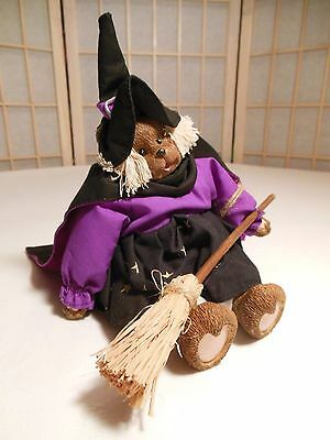 Halloween Teddy Bear Decoration Witch Doll w/ Broom Cape Hat Dress Bloomers NEW