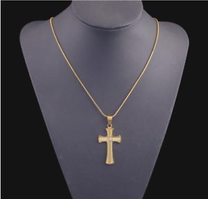 18k-Goldkette-mit-Kreuz-Anhaenger-vergoldet-Kirche-Herrenkette-Damen-Frauen-G29