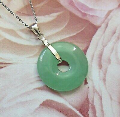 Lucky Grade A Natural Green Jade /& 925 Sterling Silver Rose Heart Pendant