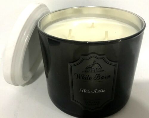 STAR ANISE BATH /& BODY WORKS SCENTED CANDLE 3 WICK WHITE BARN LARGE MARBLE LID