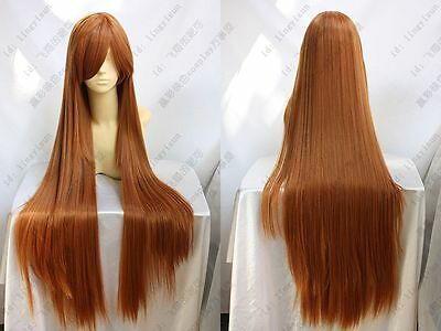 905 New Long Orange Brown Cosplay Party Wig 100cm