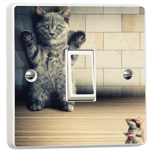Cat vs Mice Gun Funny Humour 3D Light Switch Sticker Cover Vinyl Skin Wall Decal