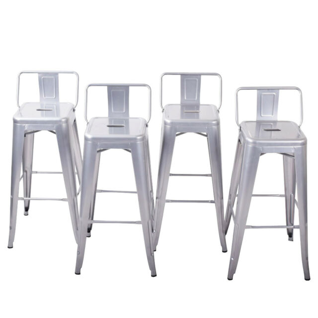 Super 4Pc Bar Stool Height Modern Chair Low Back W Footrest Home Indoor 30 Inch New Creativecarmelina Interior Chair Design Creativecarmelinacom