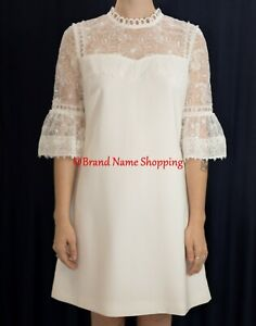 Details About Ted Baker Raechal Floral Lace Dress In White Size 2 Us 6 Ted20