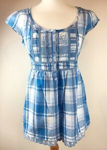 Blue-Check-Fat-Face-Frill-Top-Blouse-100-Cotton-Summer-Nautical-Size-14