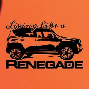 Jeep Renegade Trailhawk For Sale >> Living Like a Jeep Renegade Logo Graphic Vinyl Decal Sticker Vehicle Rear SUV 1x | eBay