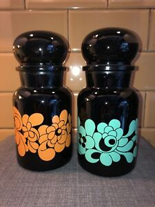Vorratsglas Schwarz Rar Unterscheidungskraft FüR Seine Traditionellen Eigenschaften Aus Belgien 70er Jahre Süß GehäRtet Apothekerglas