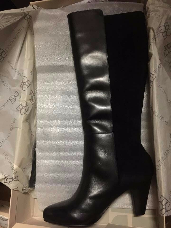 NEW BCBG BCBGeneration Deana black leather suede knee high boots 198 6 7 8 9 B