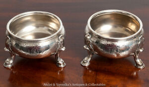 1734-EDWARD-WAKELIN-Crest-for-ABERNETHY-CLAN-Antique-SILVER-SALTS-Sterling-Rare