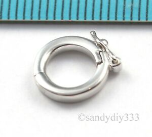 1x-RHODIUM-STERLING-SILVER-SHORTENER-ENHANCER-PENDANT-ROUND-CLASP-9-8mm-2469