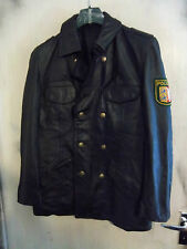 VINTAGE HACKEL & GERMAN LEATHER POLICE OFFICERS JACKET SIZE S PEA COAT ZIPP ZIPS