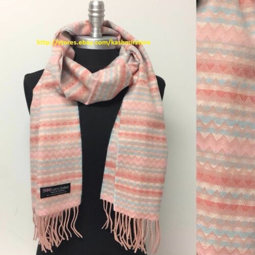 100/% CASHMERE SCARF CHEVRON DESIGN PEACH PINK BLUE MADE IN SCOTLAND SUPER SOFT