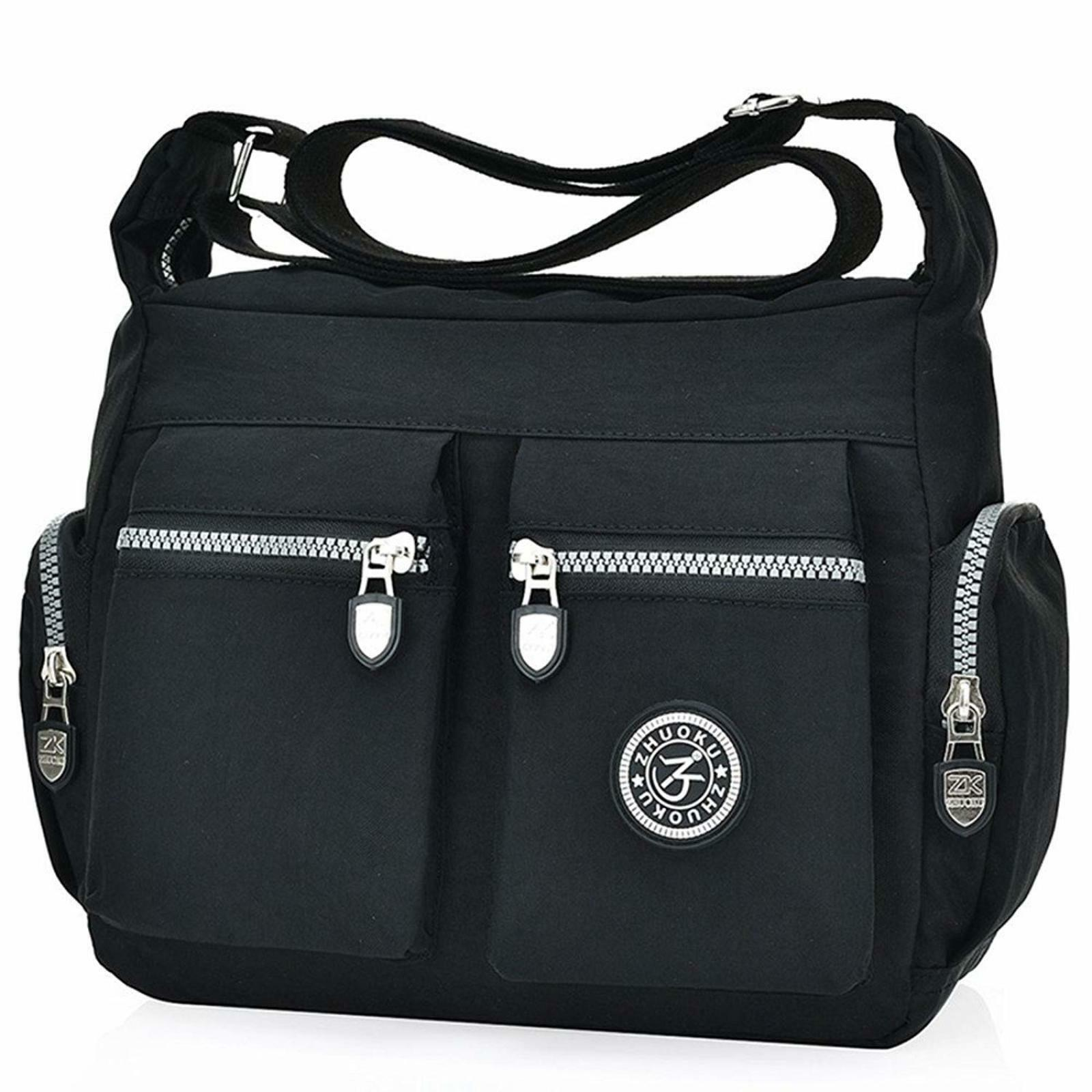 Women's Casual Multi Pocket Cross Body Shoulder Messenger Bag Ladies Handbag UK