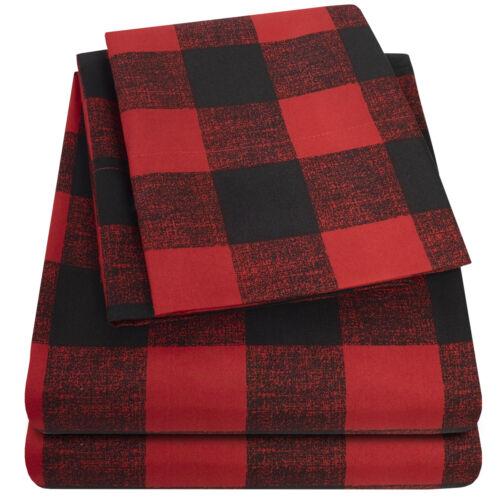 1500 Supreme Collection Buffalo Plaid Black Red 4 PC Microfiber Bed Sheet Set