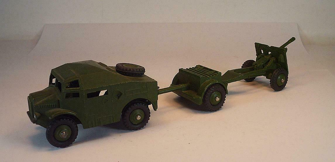 DINKY TOYS Nº 688 687 686 FIELD TRACTOR & Remorques & field gun Vert Olive  6608