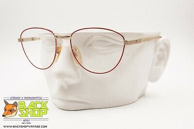 Bello Filos Made In Italy, Round Eyeglass Frame Red Rims & Chiselling, New Old Stock