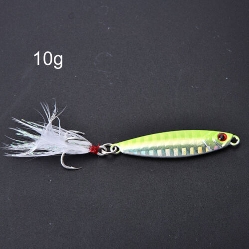 metal jig fishing lure with feather 10g artificial bait freshwater jigging jgBxj