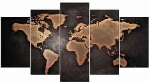 Tableau-Deco-Murale-Carte-Du-Monde-Effet-Metal-Planisphere-Impression-Sur-Toile