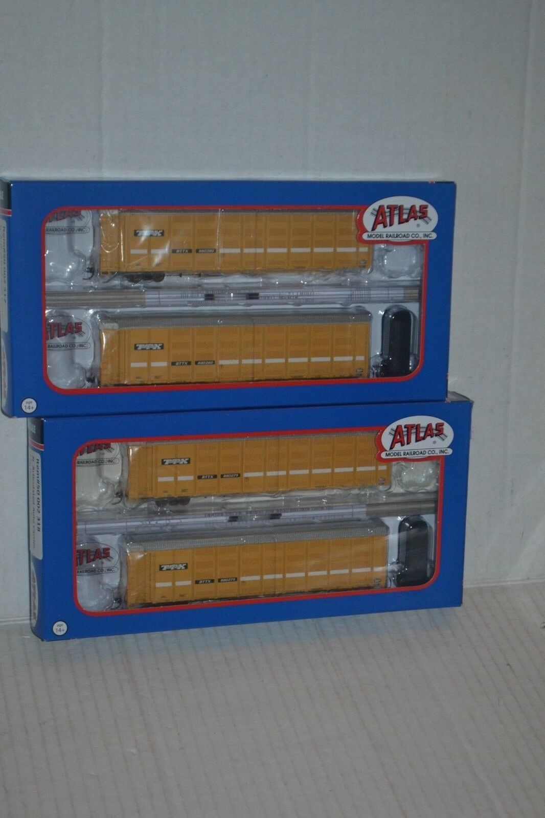 2 Atlas TTX Speed Lettering Articulated Auto Carrier N scale