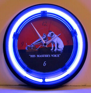 Retro-Style-RCA-Victor-Nipper-Dog-Neon-Wall-Clock-New-Clock-w-Tube-Radio-Style