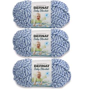 Lot of 3 Skeins Bernat Baby Blanket Yarn DIY 3.5 oz each Soft Blue Twist 47128