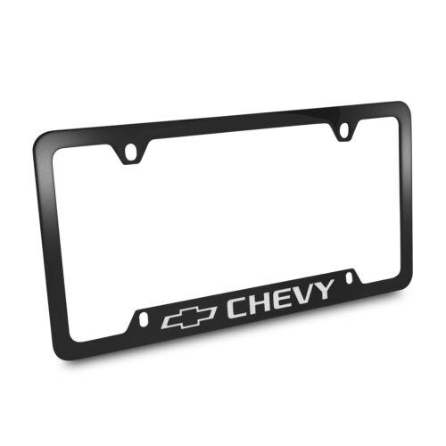 Chevrolet Engraved Logo Black Metal License Plate Frame
