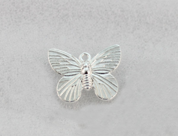 60PCS Bright silver plate 19X15MM butterfly charms FC1266SP