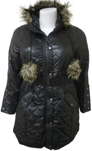 NEW WOMENS PLUS SIZE BELTED PADDED QUILTED FUR HOOD POM POM JACKET COAT 16-24