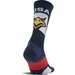 Under-Armour-Socks-Performance-Eagle-Crew-Mens-Med-4-8-5-Navy-Blue-White-Red-USA