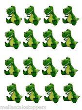 16 x Dinosauri Verde Decorazioni per Cupcake Commestibili, Fata Torta Decorazioni Chignon