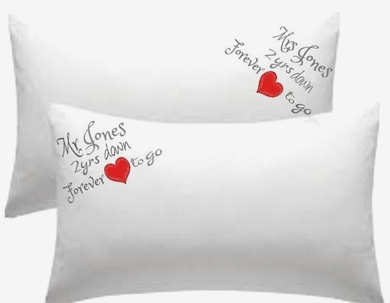 PERSONALISED Mrs & Mrs Pillow Cases Cotton Anniversary 2 YRS DOWN FOREVER TO GO!
