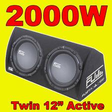 """Fli 12 gemelas """"activo Fu auto SUB caja / Subwoofer + Cableado + Kit amplificador/Amp 2000w"""