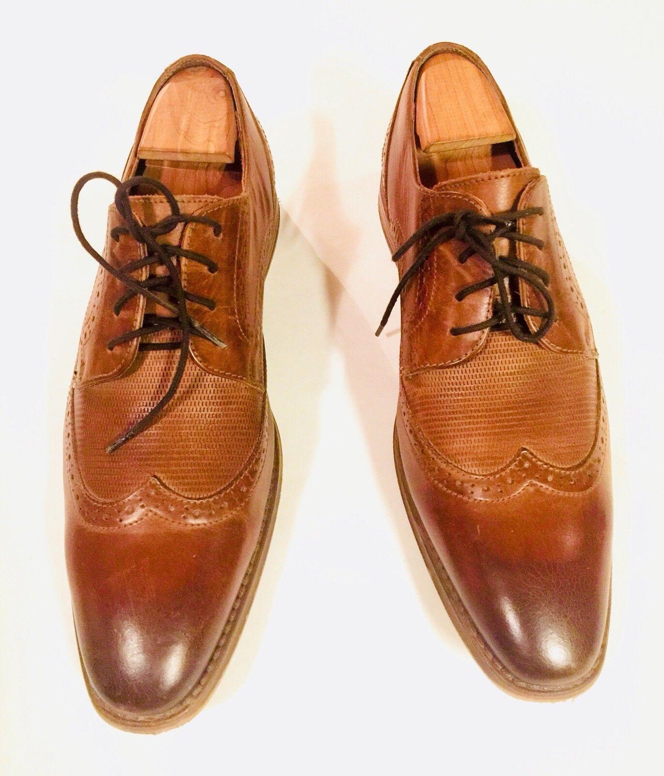 Michael Shannon Brown Leather Brogue Wingtip Oxfords Dress Shoes Mens Sz 9M