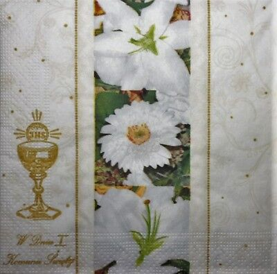 4 x Single Paper Napkins White Flowers Communion Decoupage Craft and Table 100