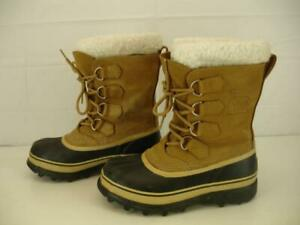 M Sorel Womens Buff Tan Winter 6 Leather Sz Caribou Boots Waterproof XZkuOPi