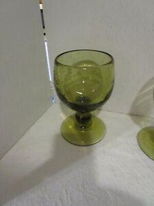 Vintage-Avacado-Green-Glass-Hand-Blown-Wine-Water-Goblet-RARE-11-oz-MCM-5-3-4-034