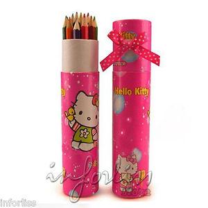 Estuche-con-12-lapices-de-colores-Pendientes-Hello-Kitty-infantil