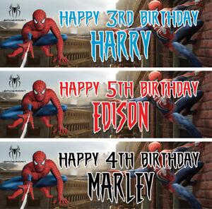 2 X Personalized Spider Man Birthday Banner Nursery