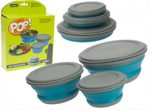 3pc Collapsible Folding Fold Flat Camping Bowl Set