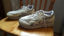 WOMENS REBOK CLASSIC ATHLETIC SHOE RB110 SZ 9M GRAY MESH/LEATHER GOOD COND