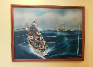 """Old Maritime Hunting Seascape Oil Painting """" THE WHALE HUNT """" 30 X 40 SIGNED"""
